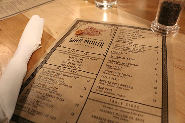 The menu from the night that I visited The War Mouth