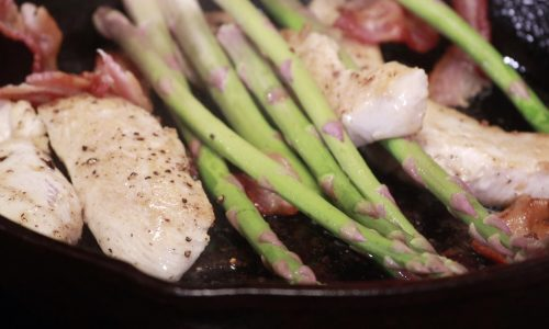 Isolation Eats – Pan Cooked Chicken, Bacon, Asparagus